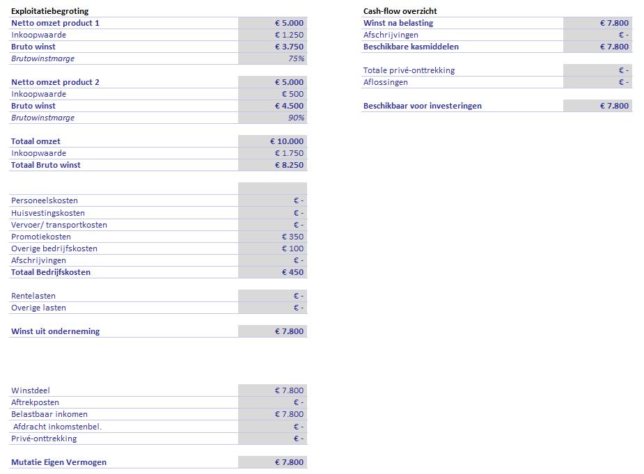 exploitatiebegroting financieel plan