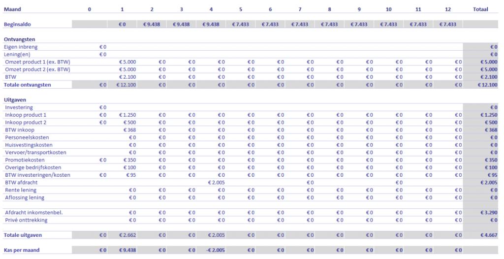liquiditeitsbegroting financieel plan